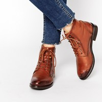 Park Lane Leather Worker Lace Up Ankle Boots