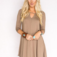 Keyhole Dress in Mocha