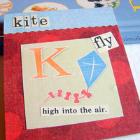 Kids Nursery Art - K Is For Kite - Fly High Into The Air - ABC Alphabet Ready to Frame Collage Wall Home Childrens Decor