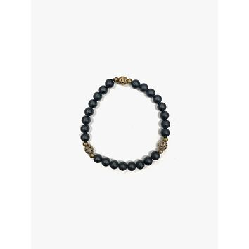 Archives | Gold Accent Black Beaded Braclet