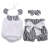 3Pcs Baby Clothing Set Baby Girl Sets Romper+Bow Shorts +Headband born baby Spring Summer Baby Girl Clothes
