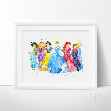 Disney Princesses Watercolor Art Print
