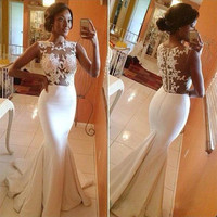 Sheer Backless White Ivory Mermaid Prom Dresses 2016 With Applique Lace Satin Long Evening Gowns Custom Made vestidos de fiesta