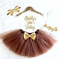 Newborn Baby Girls Party Tutu Outfits Tops Letter Bodysuits +Skirts Leg Warmers 5PCS Kids Girl Thanksgiving Clothing Set