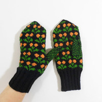 Hand Knitted Mittens - Black, Green and Orange, Size Small