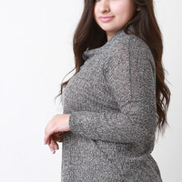 Marled Knit Cowl Neck Long Sleeves Slit Sweater Top