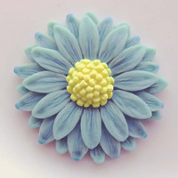 Aqua Blue Glow in the dark Daisy Pendant EyeGloArts Handmade neon Glow Jewelry Made in the USA