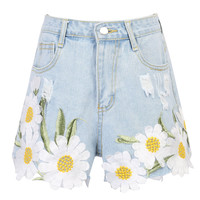 Light Blue Daisy Embroidery Ribbed Detail Denim Shorts
