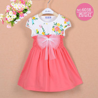 4 colors Summer Girls' Baby Floral Splicing Bow Dress Children's Floral Printing Pinched Waist Dresses Kids' Cool Dress