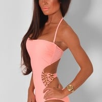 Amia Peach Strappy Swimsuit | Pink Boutique