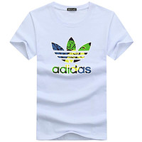 ADIDAS 2018 new men's tide brand classic big logo printing round neck T-shirt F-A000-PPNZ White
