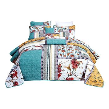 Tache Cotton Patchwork Pastel Blue Yellow Old World Hummingbirds Garden Quilt (JHW-936)