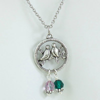 Love Birds Necklace, Mothers Birthstone Necklace, Mothers Day Gift, Choose Up to 6 Birthstones