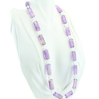 """Amethyst and Rock Crystal Necklace 21"""""""