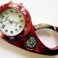Red Color Clip on Watch Bag Pocket Watch W/compass & Back Light