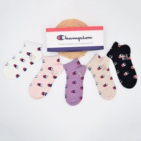 Champion ladies fashion printed socks a box of five pairs of high quality and low price