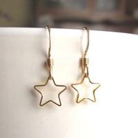 Tiny Gold Star Ring Earrings, Cute everyday wear by Yameyu on Etsy