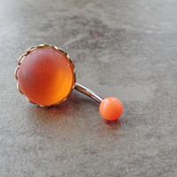 Glowing Neon Orange Belly Button Ring Jewelry
