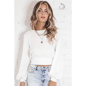 MINKPINK Blouson White Sleeve Top