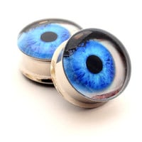 Eyeball Picture Plugs gauges - 16g, 14g, 12g, 10g, 8g, 6g, 4g, 2g, 0g, 00g, 7/16, 1/2, 9/16, 5/8, 3/4, 7/8, 1 inch STYLE 3