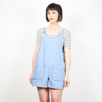 Vintage Womens Overalls Light Blue Denim Overall Shorts 1990s 90s Soft Grunge Romper Playsuit Jean Shorts Onesuit Jumper S Small M Medium
