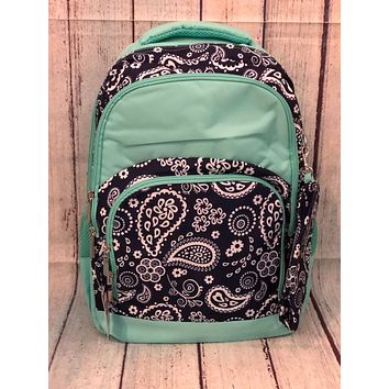 Navy Paisley with Pencil Pouch