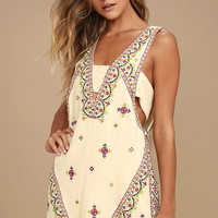 Free People Never Been Beige Embroidered Mini Dress
