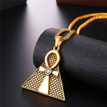 Gold plated Ancient Pyramid Ankh Egyptian Cross Pendant & Chain Necklace Men/Women Stainless steel Necklaces