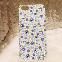 Retro Blue Floral Pattern Handmade Cloth Case For iPhone 4/4s