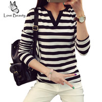 New 2015 Women Hoody Spring Autumn Long Sleeve Casual T-shirts Striped Patchwork V-Neck Feminine Oversize T-Shirts EPTS80079