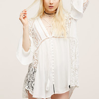 Free People Lovestoned Lace Buttondown Top