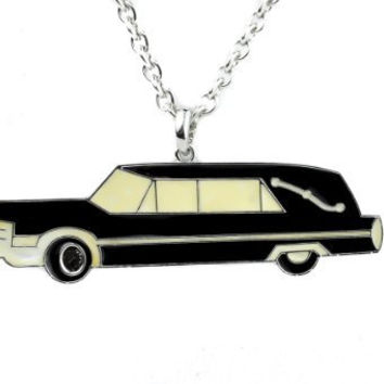 Large Hearse Car Necklace Funeral Cemetery Pendant