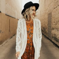 Woodside Crochet Cardigan in Cream