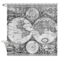 Antique Gray Chic Map Shower Curtain -  Vintage map -Home Decor - Bathroom - maps