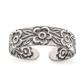 Sterling Silver Antiqued Flower 5mm Band Toe Ring