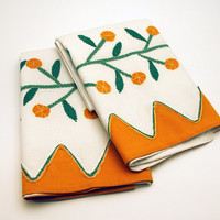 Vintage Pillowcases Pair - Hand Appliqued Green and Orange - Hand Embroidery - Hand Made Pillowcases