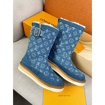 lv louis vuitton trending womens men leather side zip lace up ankle boots shoes high boots 208