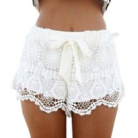 Amoin Womens New Sexy Elastic Openwork Celeb Lace Crochet Bow Shorts Mira Hot Pants