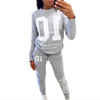 2017 Autumn Winter Fashion 2 Piece Set Tracksuit For Women Pant And Sweatsuits 10 Printed Women's Suits Clothing