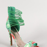 Qupid Floral Strappy Stiletto Sandal Size: 7, Color: Green Multi