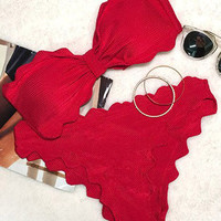 Red Strapless Wavy Scallop Edge Ruched Padded Bandeau Bikini Sets Two Pieces Swimwear