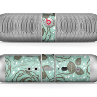 The Toned Green Vector Roses and Birds Skin for the Beats by Dre Pill Bluetooth Speaker