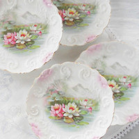 Gorgeous Ornate Bread and Butter Plates, Set of 4, Antique, Tea Party, Wedding, Victorian, Bisque Porcelain, Made in Germany
