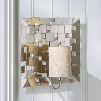Modern Mosaic Wall Mirrored Candle Sconce