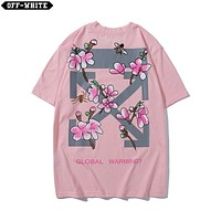 DCCK 1491 OFF WHITE Snowflakes logo Global Warming Print T-shirt Pink