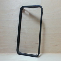 iPhone 5 / 5S Case Silicone Bumper and Clear Hard Plastic Back - Black