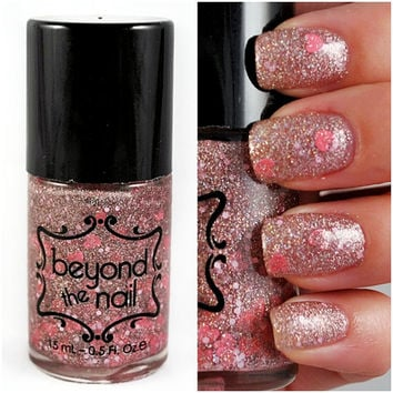 Cupid's Bow Nail Polish, Pink and Silver Holographic Microglitter with Pink Glitter and Pink Hearts