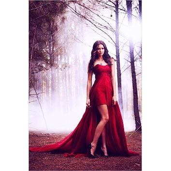 Nina Dobrev Red Strapless High-low Prom Celebrity Dress
