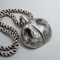 Dog Nose Necklace in Fine Silver - Personalized for Small Dog