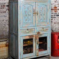 Antique Kitchen Cupboard Storage Cabinet Media Cabinet Armoire Indian Blue Farm Chic Warm Industrial